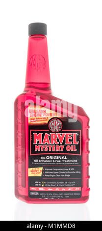 Winneconne, WI - 31 January 2018: A bottle of Marvel Mystery oil on an isolated background. - Stock Photo