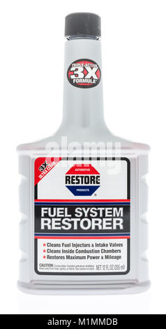 Winneconne, WI - 31 January 2018: A bottle of Restore fuel system restorer on an isolated background. - Stock Photo