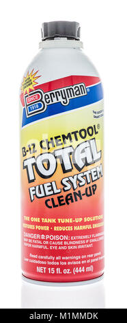 Winneconne, WI - 31 January 2018: A bottle of Berryman total fuel system cleaner on an isolated background. - Stock Photo