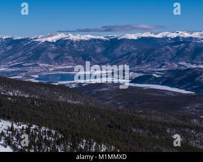 Dillon Reservoir from atop Peak 6, Breckenridge Ski Resort, Breckenridge, Colorado.