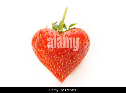 Strawberry in the shape of a heart, Erdbeere in Herzform - Stock Photo