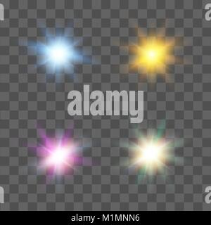 Set of stars with different colors. Lens effect light. Vector. - Stock Photo