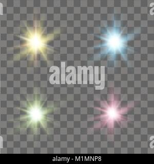 Set of glow lights effects. Stars, sparkles or particles. Vector. - Stock Photo