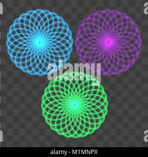 Abstract colorful circles on transparent background. Vector. - Stock Photo