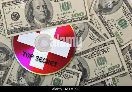 Bank notes, CD, DVD, data protection, tax evasion, pirated copies, etc., Banknoten, Datenschutz, Steuerhinterziehung, - Stock Photo