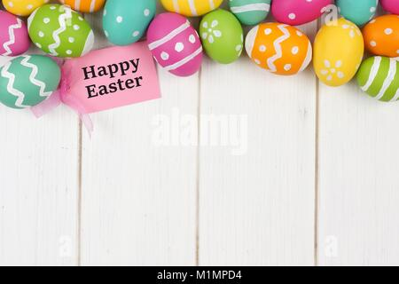 Happy easter gift tag with colorful easter egg double border against happy easter gift tag with colorful easter egg top border against a white wood background negle Image collections