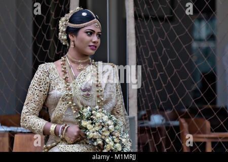 Sri Lankan Bride, Negombo, Colombo, Western Province, Sri Lanka, Asia - Stock Photo