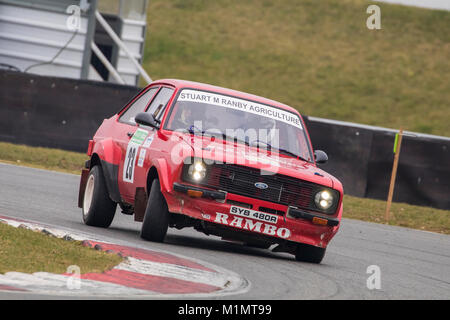 Ford Escort MkII with driver Stuart Ranby and co-driver Ian Bass at the Motorsport News Circuit Rally Championship, - Stock Photo