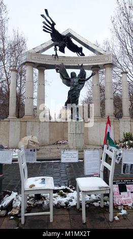 Monument Hungarian Victims of the Nazis Budapest Hungary EU - Stock Photo