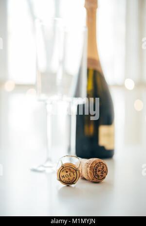 ODESSA, UKRAINE - January 30 2018: Moet & Chandon Champagne cork - Stock Photo