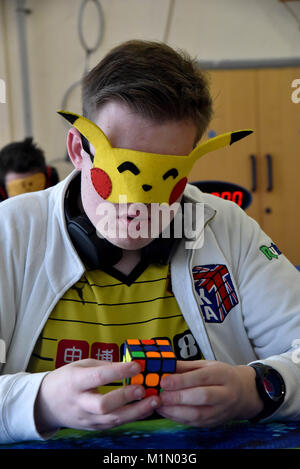 Rhiw Syr Dafydd Primary School, Oakdale, hosted host the  first Welsh Open Rubik's Cube Championships.  Organised - Stock Photo