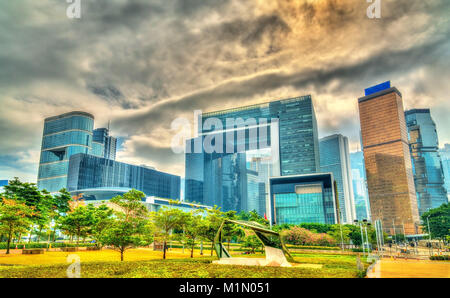 Buildings in the Tamar site of central Hong Kong - Stock Photo