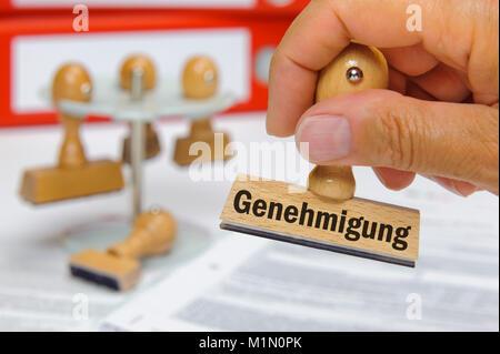 Genehmigung, Stempel mit Aufdruck Genehmigung - Stock Photo