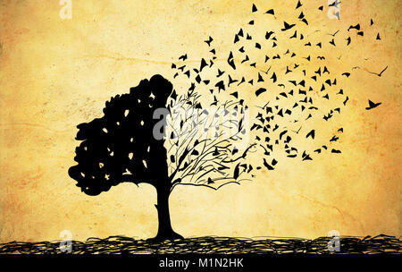 Old papers with tree drawing, abstract tree background - Stock Photo