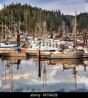 Fishing boats, Fisherman's Wharf in Port Hardy, North Vancouver Island, British Columbia, Canada - Stock Photo