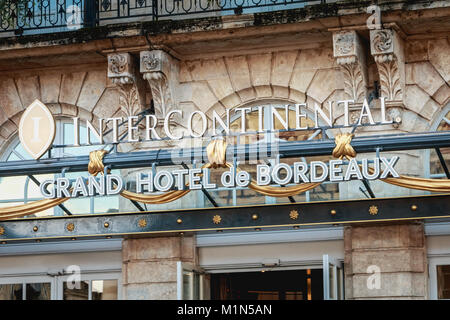 BORDEAUX, FRANCE - January 26, 2018 : architectural detail of the luxurious Grand Hotel de Bordeaux in front of - Stock Photo