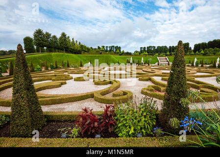 Hillerod, Denmark - September, 23th, 2015. Royal park near Frederiksborg castle. Baroque garden with green trees, - Stock Photo