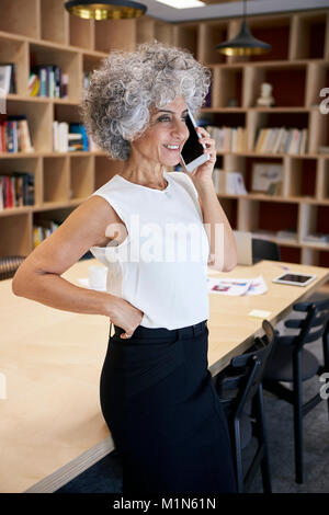 Senior businesswoman making phone call in a meeting room - Stock Photo