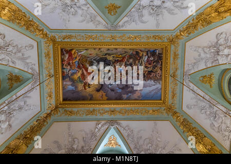 The apartments of the Royal Palace, a painting on the ceiling: The hall of Mars (Caserta Royal Palace) - Stock Photo