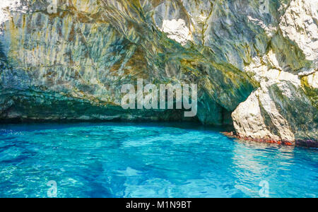 The Grotta Verde (Green Grotto) on the coast on Capri  Italy