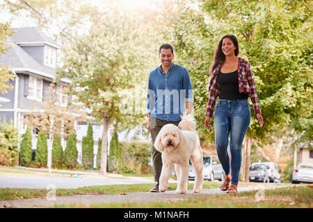 Couple Walking Dog Along Suburban Street - Stock Photo