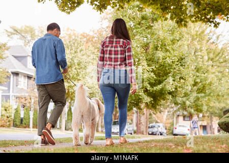 Rear View Of Couple Walking Dog Along Suburban Street - Stock Photo