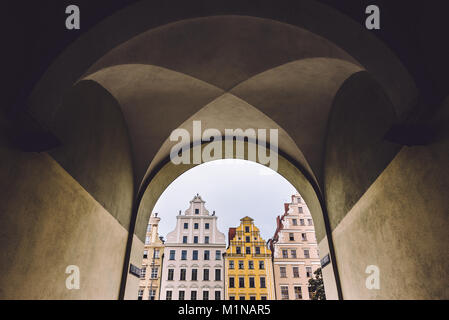 Historical House Facades in Wroclaw - Stock Photo
