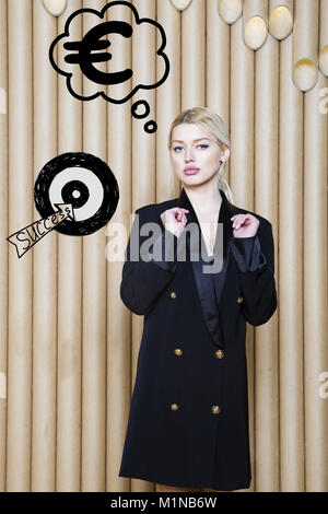 Thinking woman looking up on money sign in bubble and sketch target. Money concept on design background with lamps. - Stock Photo