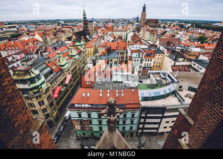 Wroclaw Old town Panorama High View - Stock Photo