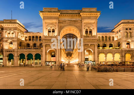 Galleria Vittorio Emanuele II in Milano by sunset, Italy. - Stock Photo