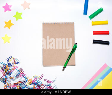 School supplies on white background. Stationery on white background - Stock Photo