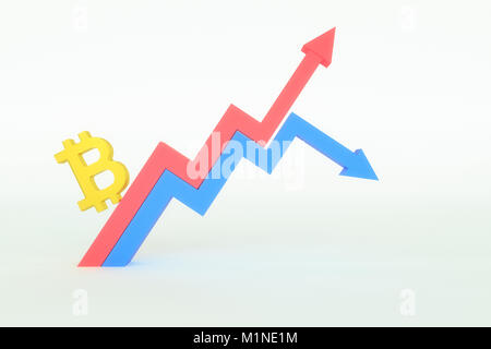 3d rendering of abstract bitcoin sign with line chart - Stock Photo