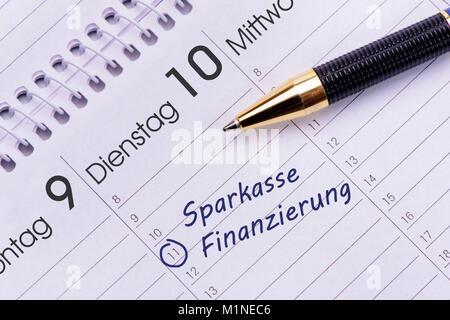 Sparkasse und Finanzierung als Eintrag im Terminkalender