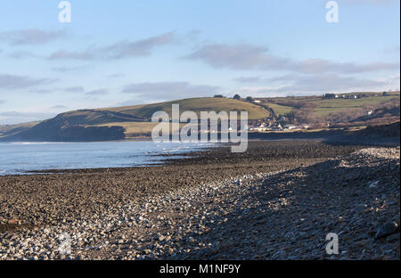 The Wales and Ceredigion Coast Path. Picturesque view of the coastal path route between the village of Llanon and - Stock Photo