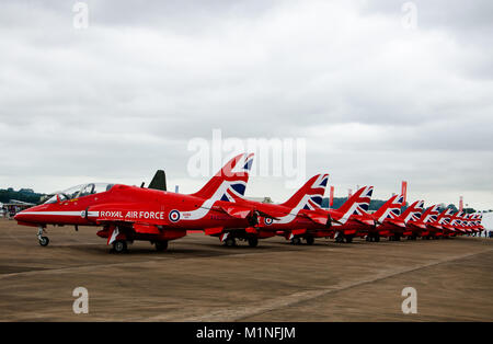 The red arrows in royal international air tattoo - Stock Photo