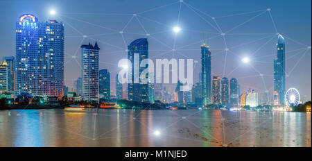 City of bangkok at sunset and business network connections concept / Panorama - Stock Photo