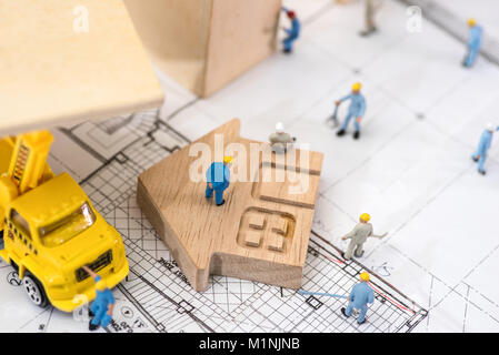 Miniature worker, The concept of construction site - Stock Photo