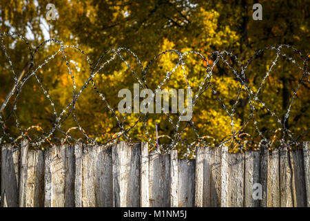 Barbed wire on the fence area with restricted access. - Stock Photo