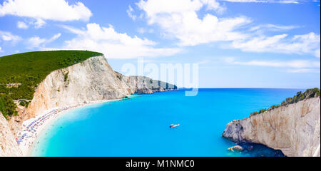 Beautiful Porto Katsiki beach panorama, one of the most famous beach in Lefkada Island, Greece. - Stock Photo