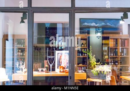 Bologna, Italy, A wine store in the Corte Isolani shopping area - Stock Photo