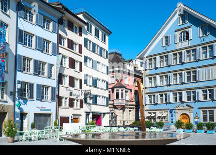 Zurich, Switzerland,  Houses in traditional style in Parade square. - Stock Photo