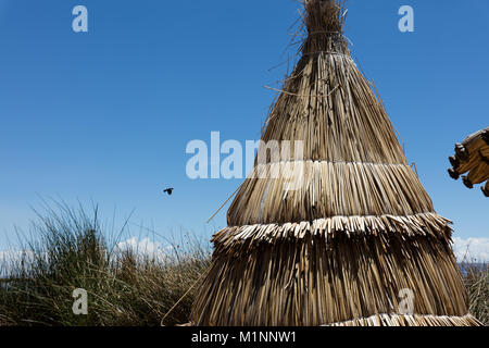 traditional tent on the Titicaca lake near Puno, Peru - Stock Photo