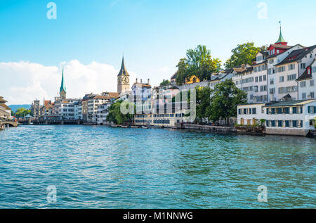 Zurich, Switzerland, panoramic view of the city center on the Limmat river - Stock Photo