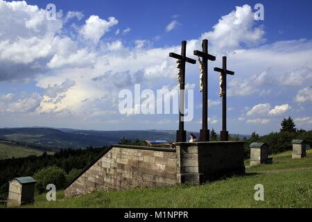 The landmark of the Kreuzberg in the Rhon is the crucifixion group. At the same time it is one of the most famous - Stock Photo