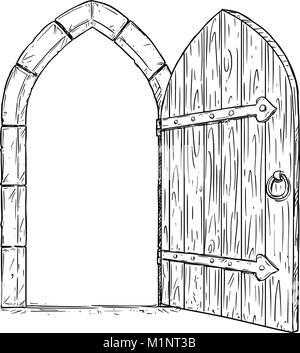 Cartoon Vector Drawing of Open Wooden Medieval Decision Door - Stock Photo