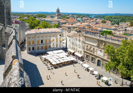 Avignon, France,  View of the city from the top of the Palace of the Popes - Stock Photo