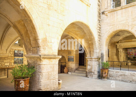 Les Baux De Provence, France, The courtyard of the town hall - Stock Photo