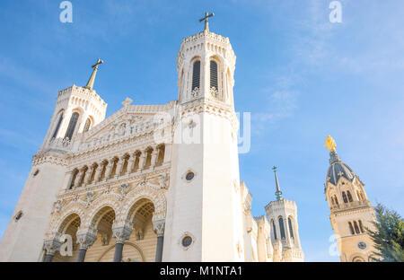 France, Lyon, the Notre Dame de Fourviere basilica - Stock Photo