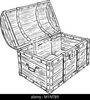 Cartoon Vector Drawing of Old Empty Open Pirate Chest - Stock Photo
