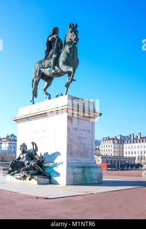France, Lyon, the equestrian monument of King Louis XIV in Bellecour square - Stock Photo